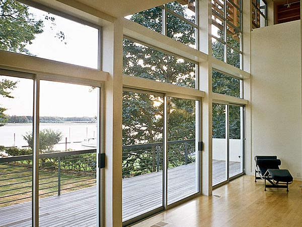 panoramic view of water with aluminum windows