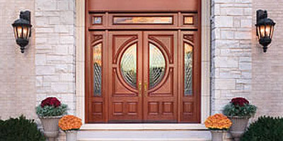 Wood exterior entry door that was installed by our expert door installers.