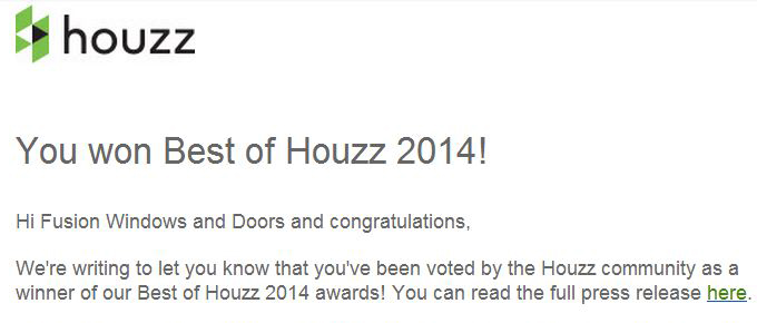 Fusion Windows Wins Best of Houzz 2014!