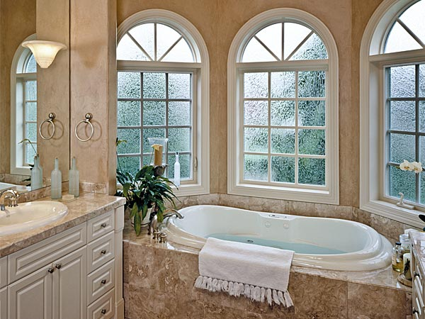 Fiberglass windows installed in a beautiful home bathroom.