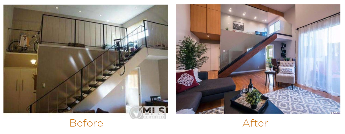 Home remodeling ideas: glass staircase replacing a traditional one.