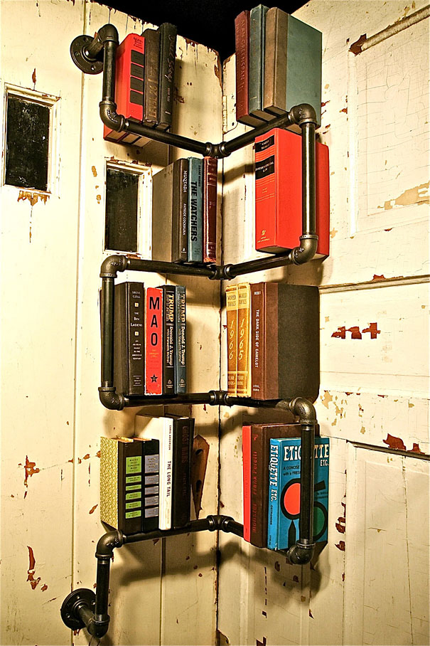 Design and imagination: Water pipes are used to create a book shelf. - Fusion Windows Blog