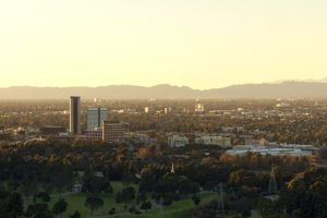 Skyline view of Burbank, CA.