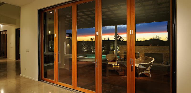 Custom wood patio doors with crystal clear glass.