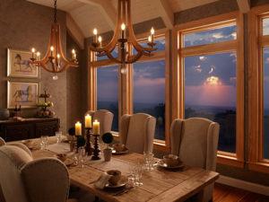Dining room with Milgard Wood Windows Essence Series.