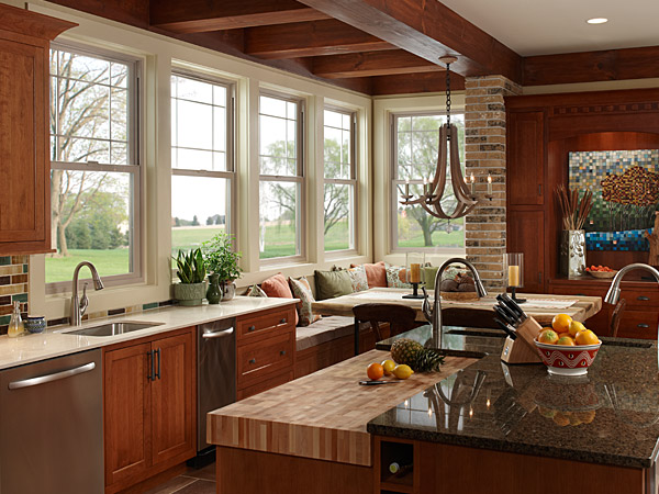 Milgard Tuscany vinyl windows seen in a home kitchen.